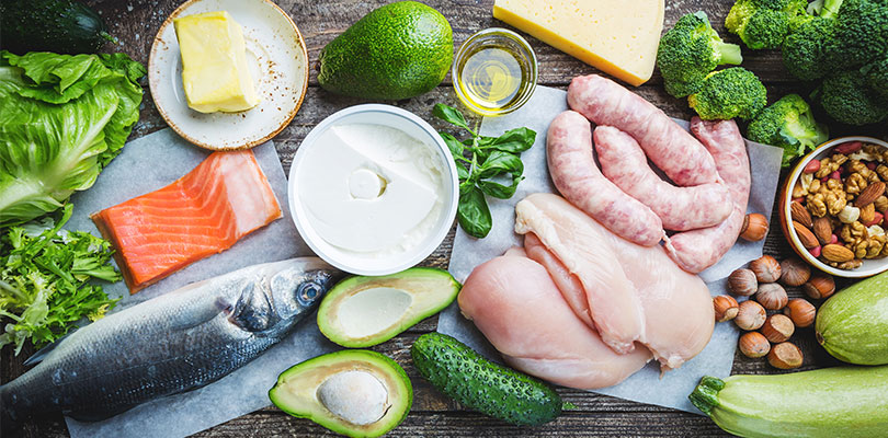 Chicken, fish, avocado, and other low-carb foods